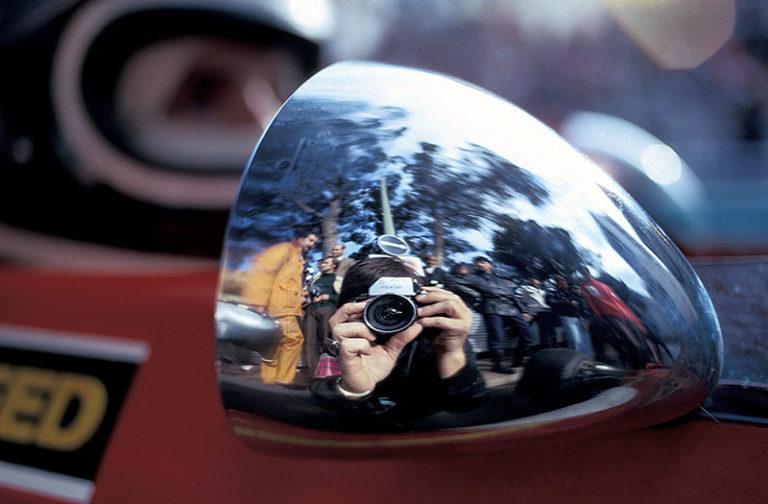 Rainer reflects in the rear mirror of Ickx' Ferrari, Monaco Grand Prix, 1971